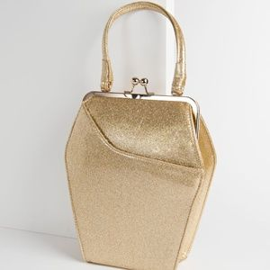 Gold Tatyana To Die For Glitter Coffin Purse